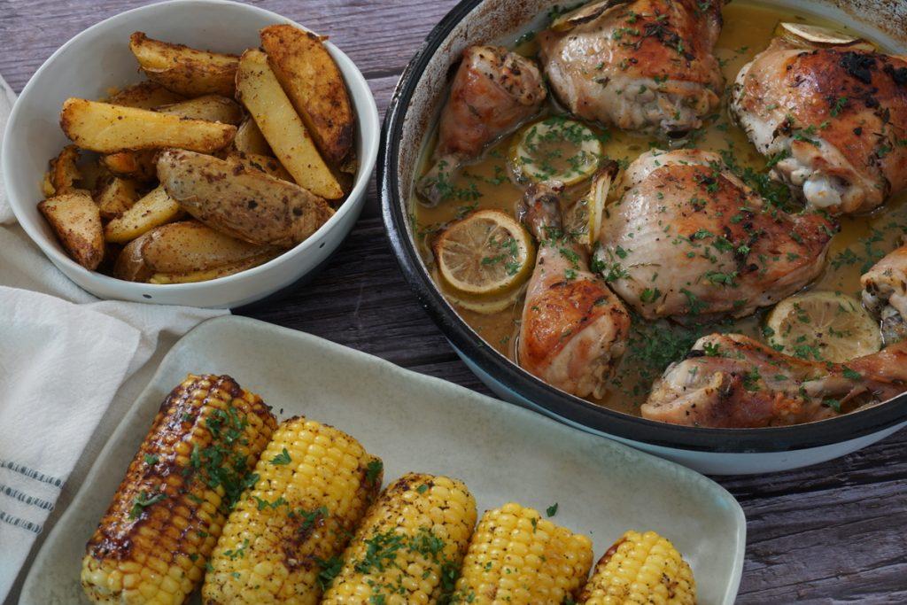 עוף בלימון ותימין צלוי בתנור